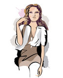 Series of sketches of beautiful fashion girls Royalty Free Stock Images