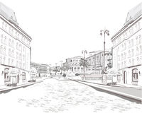 Series of sketches of beautiful old city views. Background vector illustration