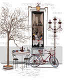 Series of sketches of beautiful old city views with cafes Stock Image