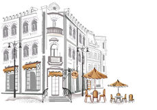 Series of sketches of street cafes stock illustration