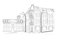 Series of sketches of streets vector illustration