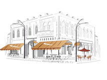 Series of sketches of streets. With cafes Stock Photo