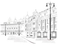 Series of sketches of streets. In old city Stock Photography