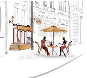 Series of sketches of streets with cafe. Sketches of nice streets in old city with cafes