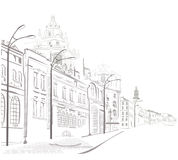Series of sketches of streets in old city. Sketches of nice streets in old city Stock Photos