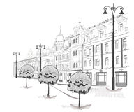 Series of sketches of streets in old city Royalty Free Stock Images