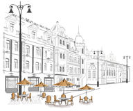 Series of sketches of streets in old city Royalty Free Stock Photos
