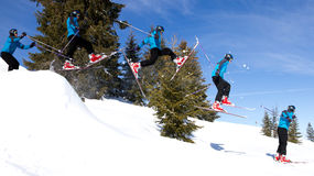 Series of a skier in a jump Stock Photo