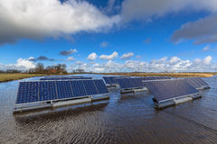 Series of Solar panels floating on water Royalty Free Stock Photography