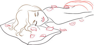 Series Spa Salon - Massage, woman with rose petals Stock Images