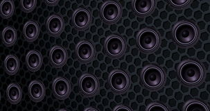 Series of speakers of the loudspeaker, texture effect background, bass movement with alpha, channel stock video
