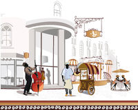 Series of street cafes in the city with a cook and. A musician, girls at the cafe table vector illustration