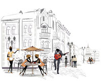 Series of street cafes in the city vector illustration