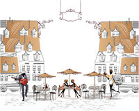 Series of street cafes in the city with people drinking coffee royalty free illustration