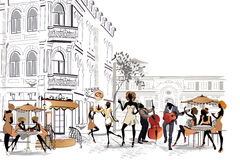 Series of street cafes in the city with people drinking coffee. Singers, musicians royalty free illustration