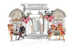 Series of the street cafes with fashion people. Series of the street cafes with fashion people, men and women, in the old city. Street musicians in the city royalty free illustration