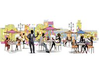 Series of the street cafes with fashion people. Series of the street cafes with fashion people, men and women, in the old city. Street musicians in the city stock illustration