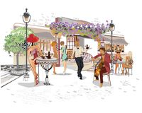 Series of the street cafes with fashion people and street musicians. Series of the street cafes with people, men and women, in the old city, vector illustration vector illustration