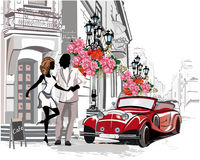 Series of street cafes with a retro car and a romantic couple in the old city. Hand drawn vector royalty free illustration