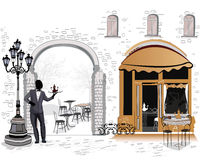 Series of the street cafes with a waiter. Series of the street cafes with people in the old city, restaurant entrance vector illustration