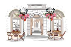 Series of street views with cafes in the old city. Hand drawn vector architectural background with historic buildings vector illustration