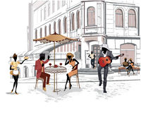 Series of street views in the old city with cafes royalty free illustration