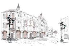 Series of street views in the old city. vector illustration