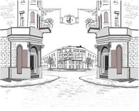 Series of street views in the old city. royalty free illustration