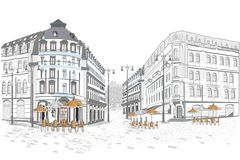 Series of street views in the old city. Hand drawn vector architectural background with historic buildings vector illustration