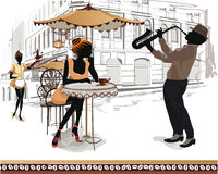 Series of street views in the old city with people. With a musician ans a waitress stock illustration