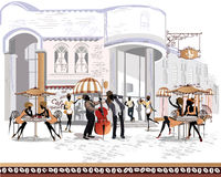 Series of street views in the old city with people royalty free illustration