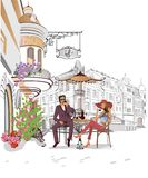 Series of street views in the old city. Romantic couple drinking coffee. royalty free illustration