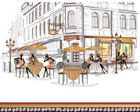 Series of street views with people vector illustration