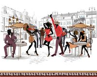 Series of the streets with musicians and dancing couples in the old city. Hand drawn vector illustration with retro buildings Stock Photo