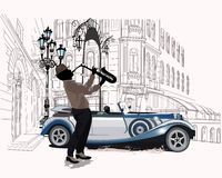 Series of the streets with musicians. Series of the streets with musicians in the old city vector illustration