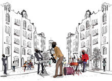 Series of the streets with musicians. Series of the streets with musicians in the old city royalty free illustration