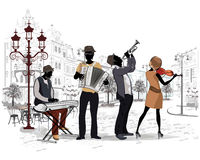 Series of the streets with musicians. Series of the streets with musicians in the old city. Hand drawn vector architectural background with historic buildings royalty free illustration
