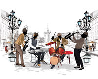 Series of the streets with musicians in the old city. stock illustration