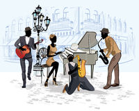 Series of the streets with musicians in the old city. Hand drawn vector architectural background with historic buildings and cafes stock illustration