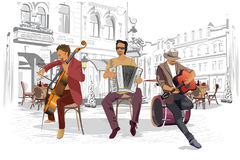 Series of the streets with musicians in the old city. Hand drawn vector illustration with retro buildings stock illustration