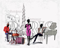Series of the streets with musicians in Paris. Series of the streets with musicians in the old city vector illustration