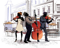 Series of the streets with people in the old city. Musicians. With violins and a contrabass vector illustration