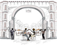 Series of the streets with people in the old city, street cafe. Couple talking toast vector illustration