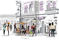 Series of the streets with people in the old city. Street cafe and a musician with a guitar royalty free illustration