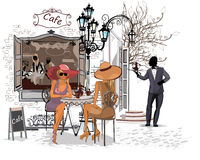 Series of the streets with people in the old city. Waiters serve the tables. Street cafe royalty free illustration