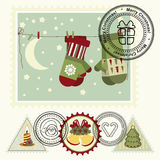 Series of stylized Christmas post stamps. Royalty Free Stock Photography