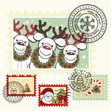 Series of stylized Christmas post stamps. stock illustration