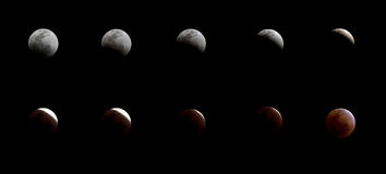 Series of total lunar eclipse Stock Photography