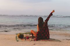 Series traveling girl in Asia. beautiful girl on the beach in beautiful nature place in Bali. Series traveling girl in Asia. beautiful girl on the beach. Bali royalty free stock photo