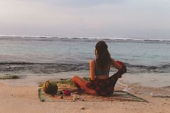 Series traveling girl in Asia. beautiful girl on the beach in beautiful nature place in Bali. Series traveling girl in Asia. beautiful girl on the beach in stock photography